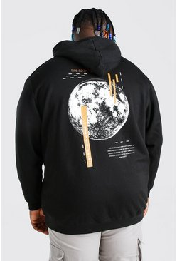 Plus Size Glitch Back Print Hoodie, Black