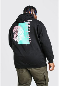 Black Plus Size Rose Back Print Hoodie