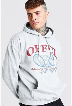 Grey marl Oversized MAN Official Tennis Print Hoodie