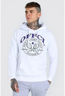 MAN Official Tennis Print Hoodie, White