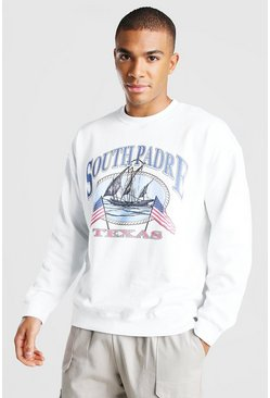 Oversized Texas Print Varsity Sweatshirt, White