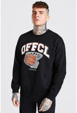 Oversized Basketball Print Sweatshirt, Black