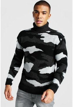 Grey Roll Neck Brushed Camo Knitted Jumper