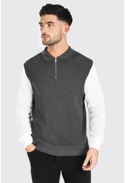 Grey Long Sleeved Colour Block Knitted Polo