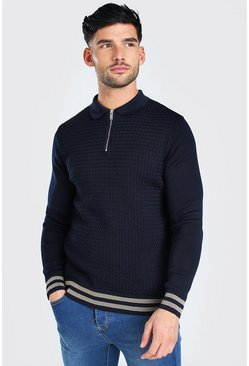 Long Sleeved Muscle Fit Cable Knit Polo With Stripes, Navy