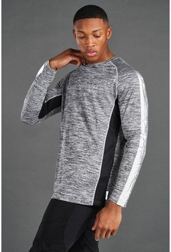 Grey marl MAN Active Gym Reflective L/S T-Shirt