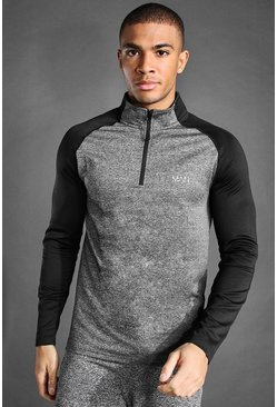 Grey marl MAN Active Raglan Muscle Fit 1/4 Funnel Top