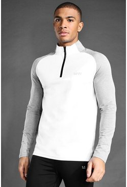 White MAN Active Raglan Muscle Fit 1/4 Funnel Top