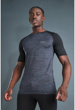 Charcoal MAN Active Contrast Sleeve Gym T-Shirt