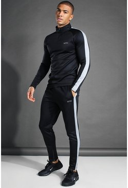 Black MAN Active Funnel Neck Tracksuit