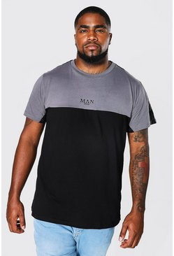 Black Plus Size MAN Roman Colour Block Tape T-Shirt