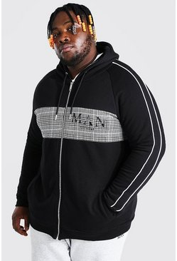 Grande taille - Sweat à capuche zippé à empiècement jacquard - MAN, Black