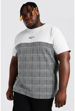 Black Plus Size MAN Roman Jacquard Tape T-Shirt