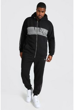 Plus Size MAN Roman Colour Block Zip Tracksuit, Black