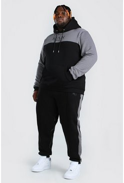 Black Plus Size MAN Roman Colour Block Tracksuit