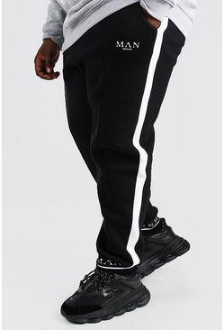 Black Plus Size MAN Roman Cuff Slim Fit Joggers