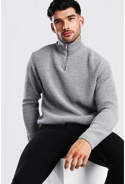 Grey marl Chunky Ribbed Half Zip Jumper