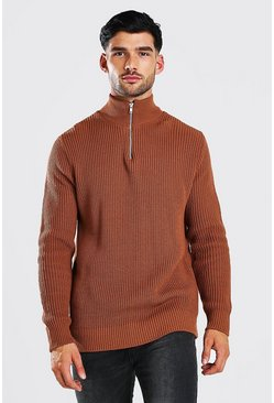 Rust Chunky Ribbed Half Zip Jumper