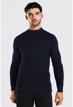 Navy Muscle Fit Waffle Knit Turtle Neck Jumper