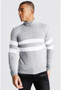 Muscle Fit Roll Neck Jumper With Stripes, Grey