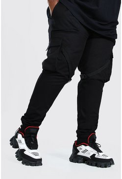 Plus Size Woven Cargo Jogger With Leg Strap, Black
