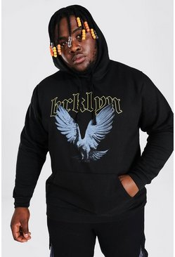 Black Plus Size Brooklyn Dove Print Hoodie