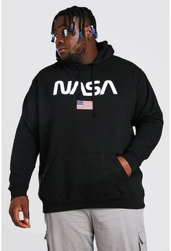 Black Plus Size Nasa Front Print License Hoodie