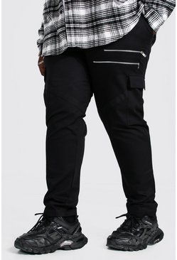 Black Plus Size Woven Cargo Jogger With Zip Detail