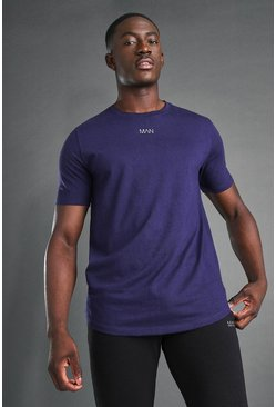 Navy MAN Active Curved Hem And Back Panel T-Shirt