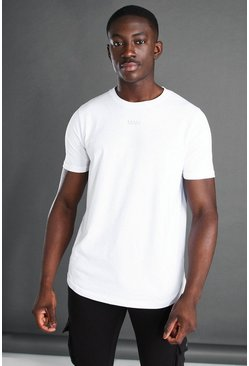 T-shirt à empiècement dans le dos et ourlet arrondi - MAN Active, White