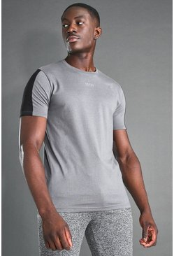 Charcoal MAN Active S/S T-Shirt With Sleeve Panel