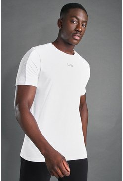 White MAN Active S/S T-Shirt With Sleeve Panel