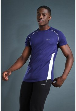 Navy MAN Active Muscle Fit Raglan T-Shirt With Piping