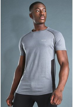 "Active Muscle Fit T-Shirt mit ""MAN""-Print und Paspelierung, Anthrazit"