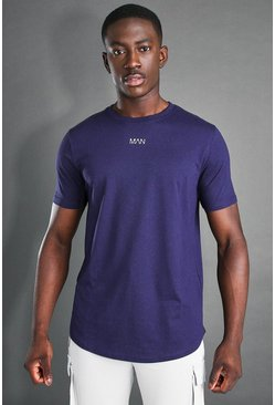 Navy MAN Active Curved Hem Short Sleeve T-Shirt