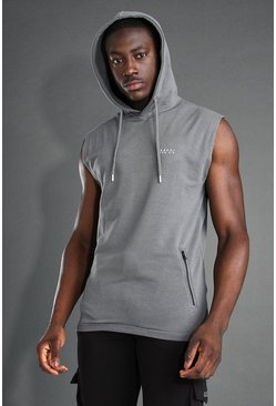 Charcoal MAN Active Sleeveless Gym Hoodie