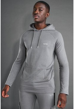 Charcoal MAN Active Longline OTH Embroidered Hoodie