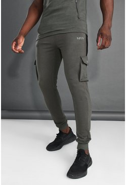 Khaki MAN Active Cargo Jogger With Side Panel