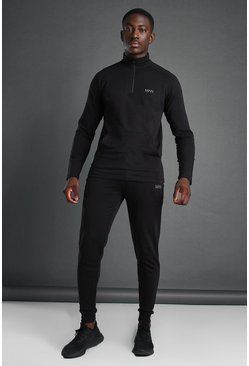 Black MAN Active Funnel Neck 1/4 Zip Tracksuit