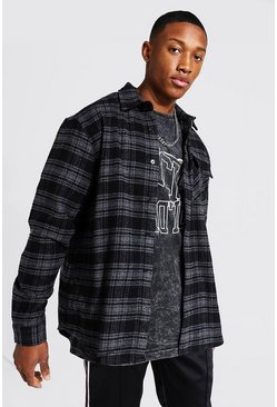 Slate Oversized Heavy Weight Check Shirt