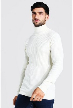 Ecru Muscle Fit Ribbed Roll Neck Jumper