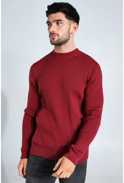 Burgundy Ribbed Turtle Neck Sweater