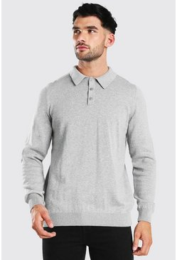 Grey Long Sleeve Knitted Polo