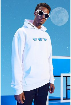 White Tall Oversized Official Butterfly Print Hoodie