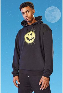 Black Tall Oversized Spray Smiley Hoodie