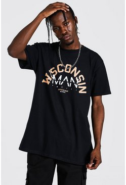 T-shirt oversize Wisconsin - MAN, Black