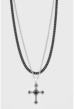 Multi Chunky Cross Double Layered Chain