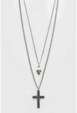 Silver Cross And Skull Double Layered Chain