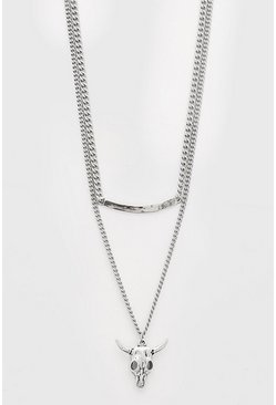 Silver Ram Skull Double Layered Chain