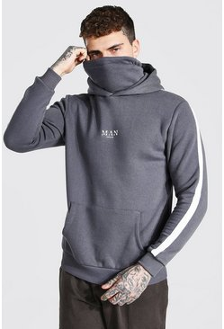 Charcoal MAN Roman Hoodie With Detachable Snood